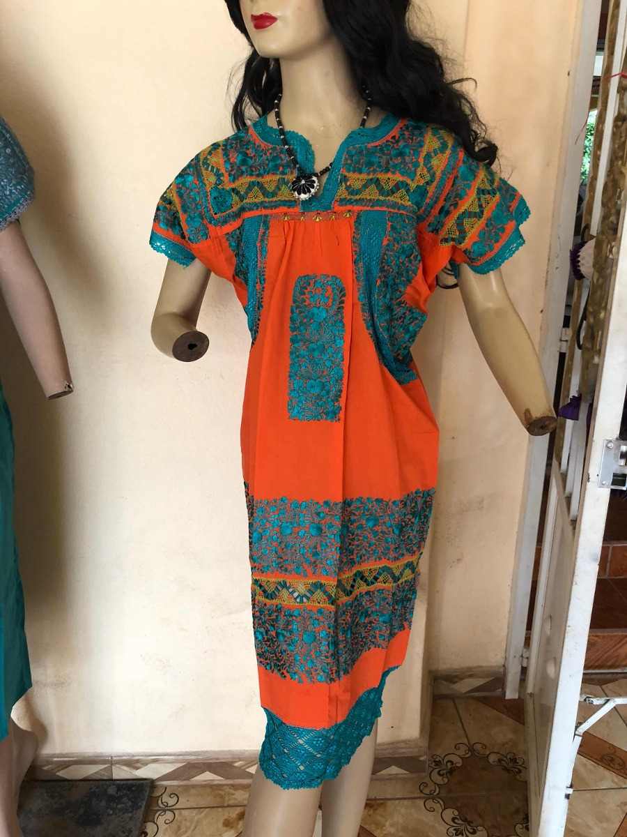 2ecb3a8a3f vestido huipil artesanal dama bordado oaxaca mexico naranja. Cargando zoom.