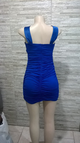vestido importado azul drapeado -  tam. 38