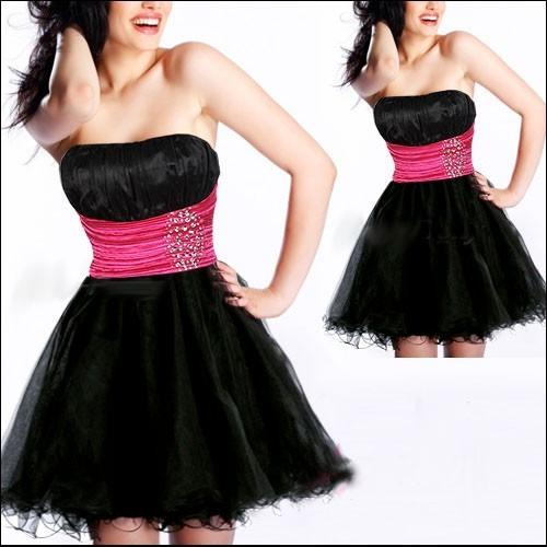 Vestido de festa preto e rosa pink