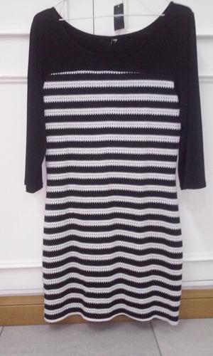 vestido importado de jersey rayado negro y blanco