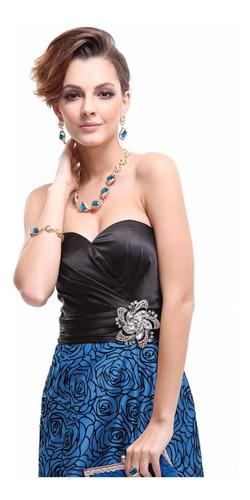 vestido importado festa formatura luxo longo azul preto