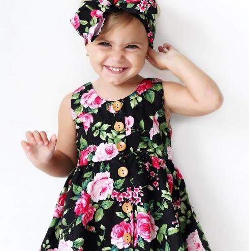 5cace58ad Vestido Importado Niña Talla 2 Años 24 Meses Floreado Negro ...