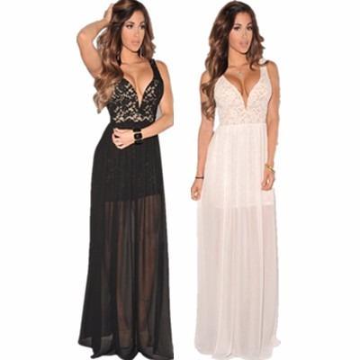 vestido importado renda sexy chique luxo longo