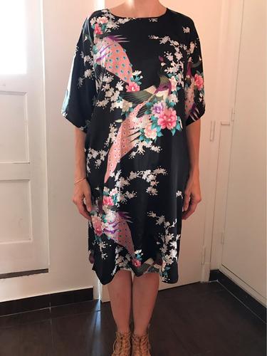 vestido importado shanghai raso estampado, talle único