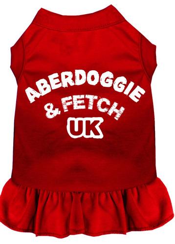 vestido impresión pantalla aberdoggie reino unido rojo xs (
