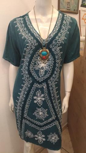 vestido indiano curto manga curta azul bordado branco