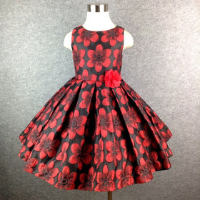 Vestido Infantil  Estampado Vermelho E Preto 4, 6 E 8 Anos