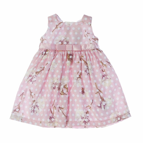 vestido infantil acetinado  floral c/ bolinhas vrasalon