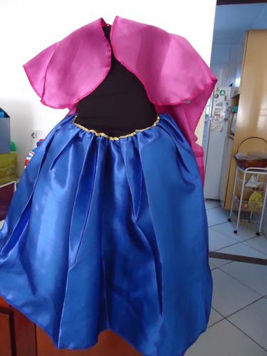 vestido infantil anna ana frozen cosplay fantasia