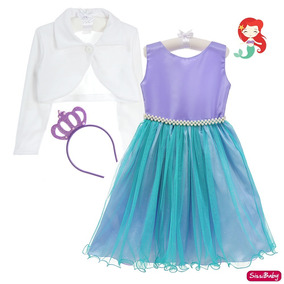 34de38c5d0d32a Vestido Infantil Ariel Pequena Sereia Luxo Bolero Coroa