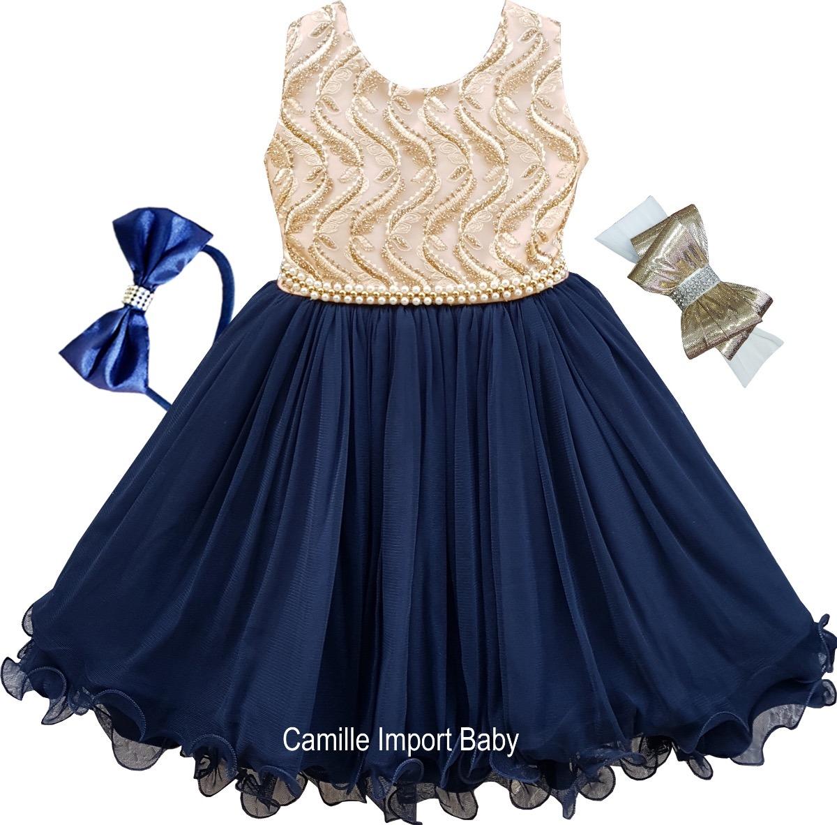a7c3a7e3d vestido infantil azul marinho e dourado festa luxo e tiaras. Carregando  zoom.