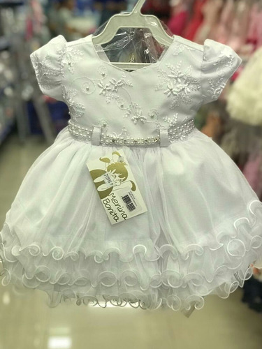 vestido infantil bebê branco batizado + faixa p ao g