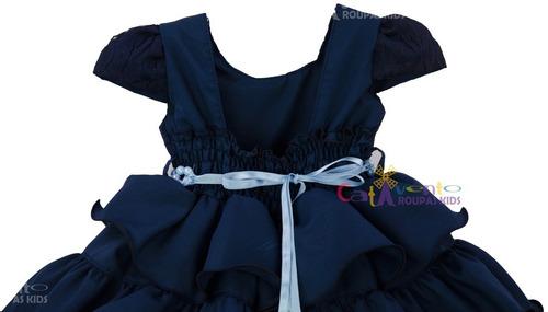 vestido infantil bebê princesa realeza azul escuro promoção