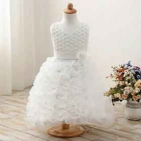 Vestido Infantil Branco  Batizado Casamento Com Luvas
