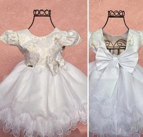 c4819fe390 Vestido Bebê Branco Batizado Luxo Renda + Faixa De Cabelo