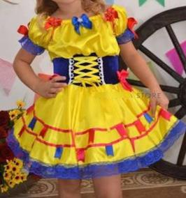 Vestido Infantil Caipira Luxo Bandeirinha Amarelo