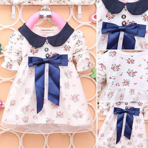 vestido infantil criança floral com azul festa aniversário