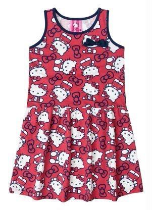 Vestido Infantil Curto Vermelho Rosa Estampado Hello Kitty - R  87 ... 8e34d684bd7