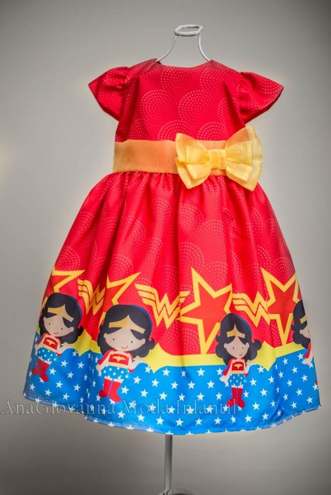 fa6366cd8 Vestido Infantil Da Mulher Maravilha - R$ 149,90 em Mercado Livre