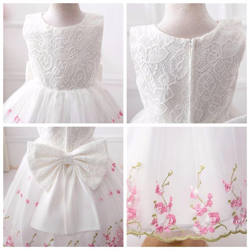 Vestido Infantil Dama De Honra Florista Renda Branco