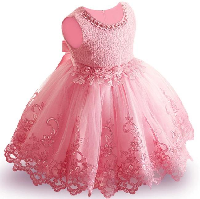 2648b1e6b Vestido Infantil Daminha Perola Casamento Florista Rosa 29 - R$ 145 ...