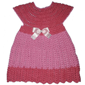Vestido Infantil De Crochê Manual. Rosa Tulipa / Rosa Bebê.