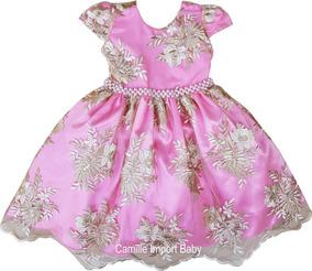 27a1152e44 Vestido Infantil De Renda Lilas - Calçados