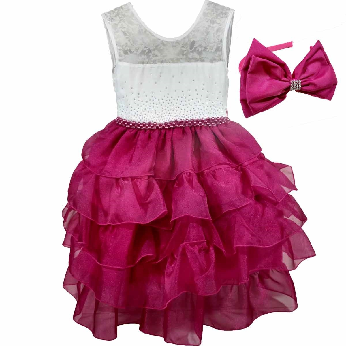54842bb30f vestido infantil de luxo rosa c  babados pérolas e tiara. Carregando zoom.