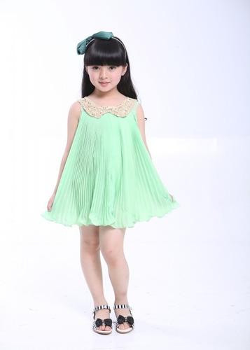 vestido infantil em chiffon plissado -verde/ importado