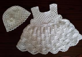 Vestido Infantil Em Crochê Chapéu