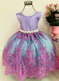 b511eafaa521dd Vestido Infantil Festa Ariel Pequena Sereia+coroa E Luva