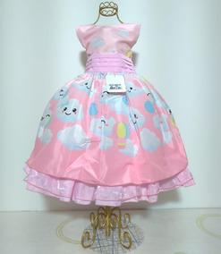 Vestido Infantil Festa Chuva De Amor Nuvem Luxo 4 Ao 12