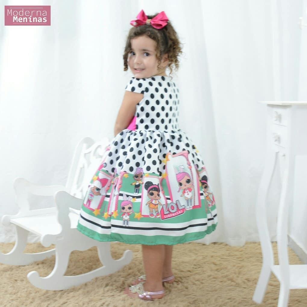 f1faacb20e vestido infantil festa com tema mínis bonecas lol surprise. Carregando zoom.