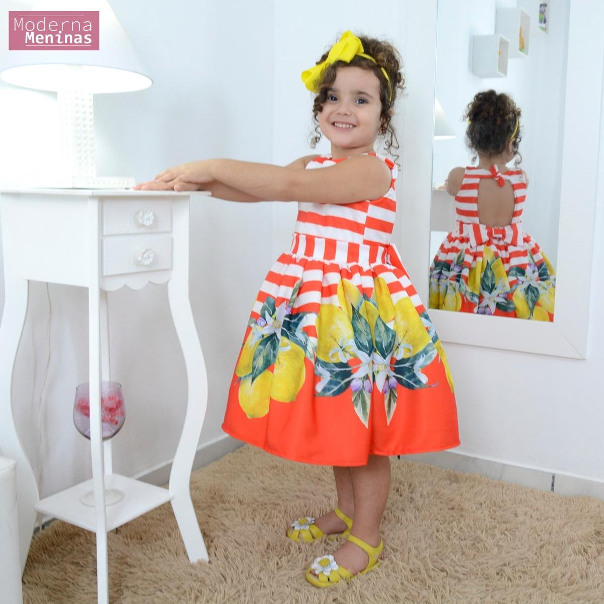 910472c6d vestido infantil festa floral com frutas cítricas limão. Carregando zoom.