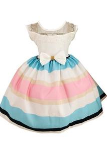 212a0eea74 Vestido Festa Colorido Listrado Menina Infantil Frete Grátis ...