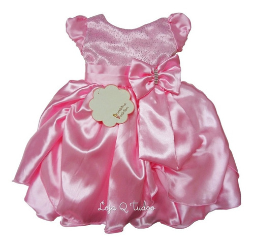 vestido infantil festa luxo realeza daminha princesa rosa