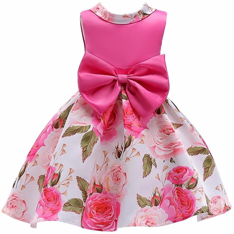4f72fa36216e16 Vestido Infantil Festa Meninas Rosa Estampado 4 6 8 10 Anos