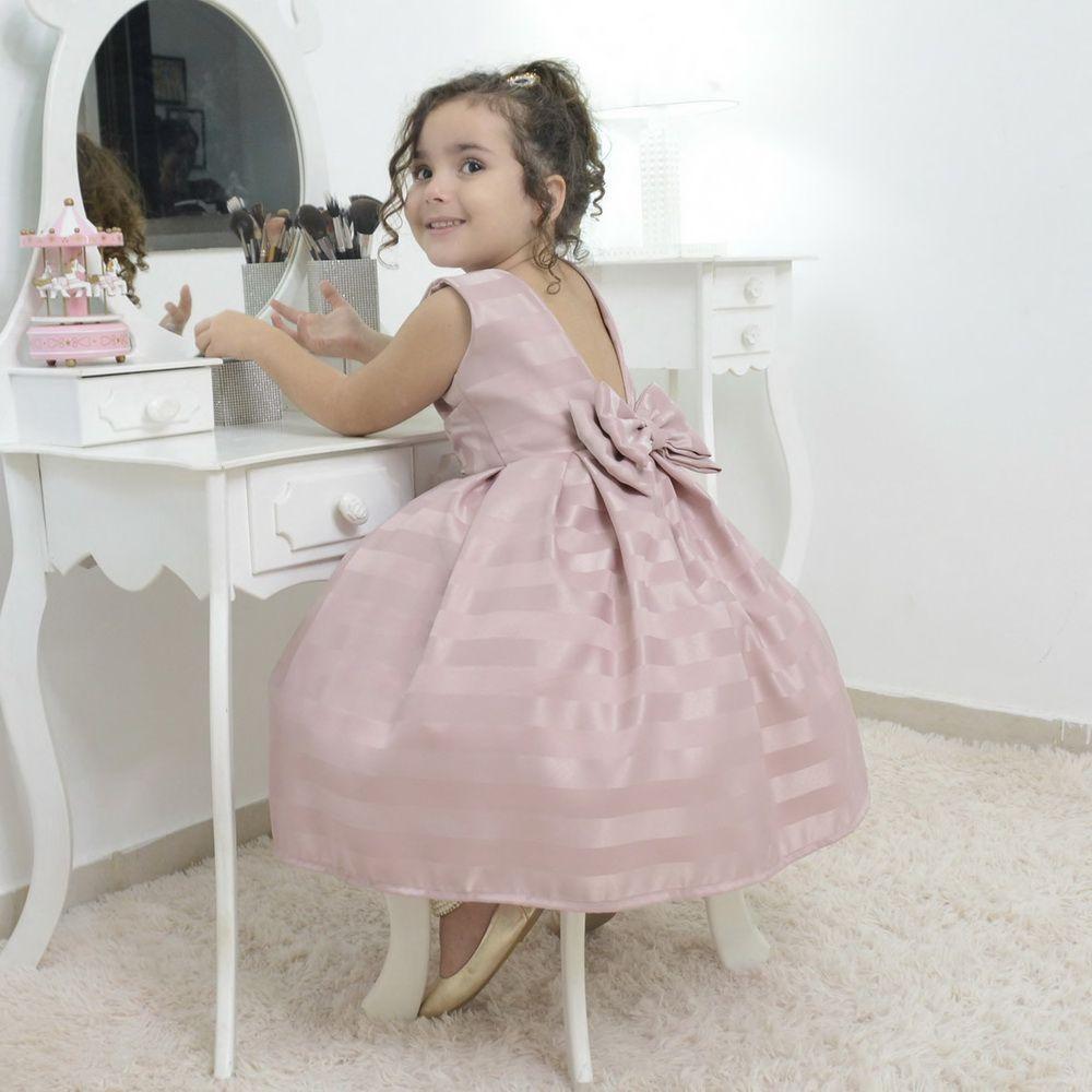 d21e9c746 Vestido Infantil Festa Na Cor Rosa Seco - R$ 202,00 em Mercado Livre