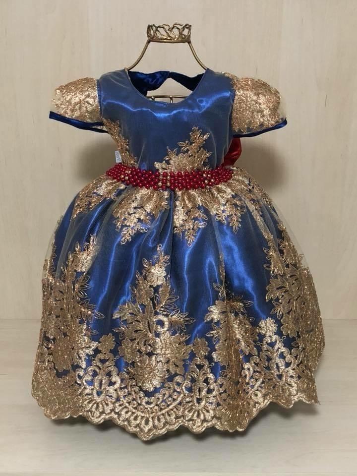 Vestido princesa azul e dourado