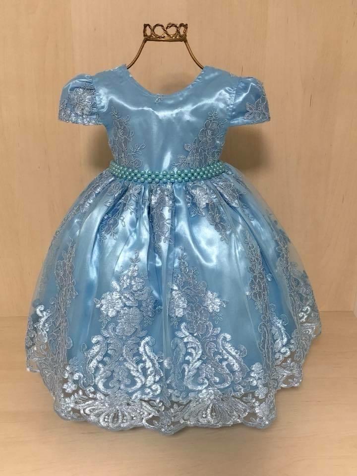 Vestido de festa azul com rosa