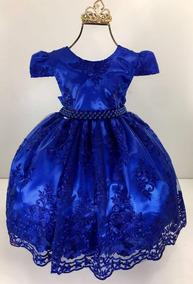 Vestido Infantil Festa Super Luxo Azul Royal