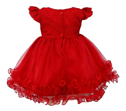 vestido infantil festa tam: pmg vermelho com renda katitus
