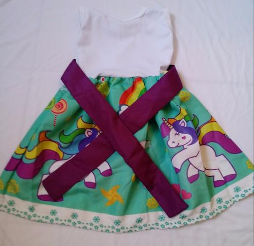 vestido infantil festa tema unicórnio roupa/fantasia