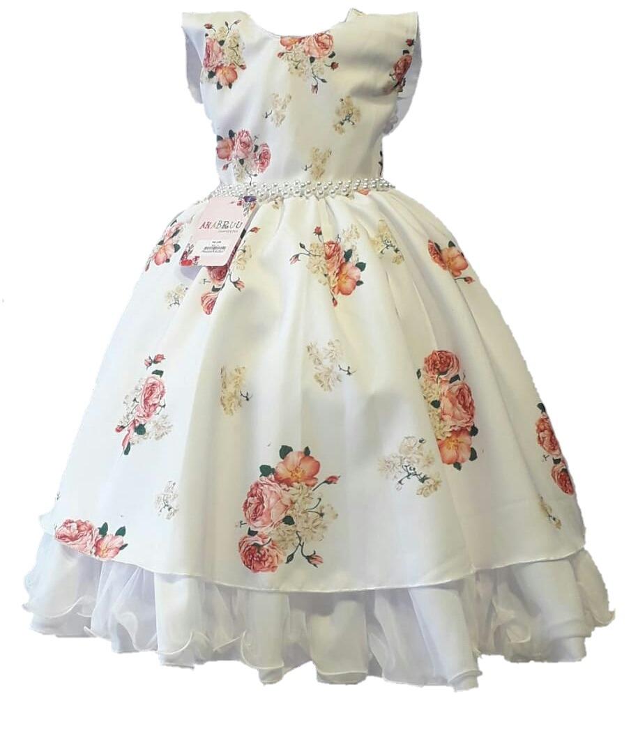 Vestido Infantil Flor Perola Longo Menina Festa Clássico
