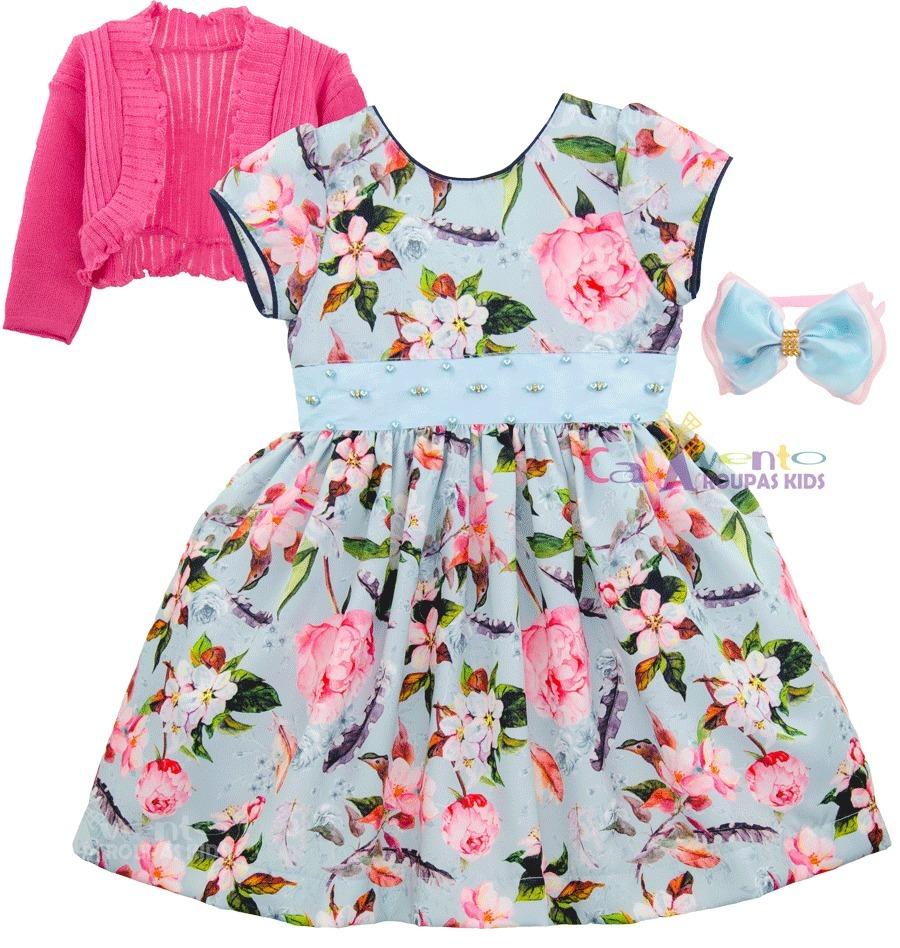 57fbbca44 vestido infantil floral rosa e azul com bolero promoção. Carregando zoom.