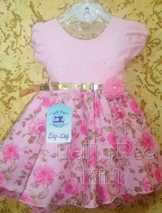 c4b6b9cc7 Vestido Infantil Floral Rosa Festa C/ Cinto Promoção - R$ 59,00 em ...
