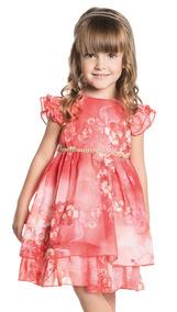 8b8613ea1b03ce Vestido Infantil Florido Vermelho Com Cinto Strass Ninali