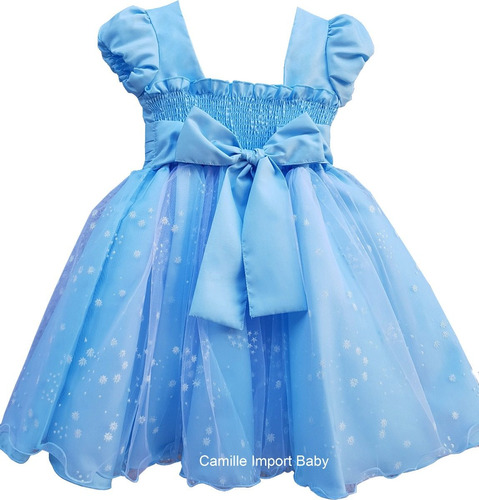 vestido infantil frozen alice cinderela luxo festa e tiara