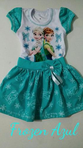 vestido infantil frozen - temático c/ mangas