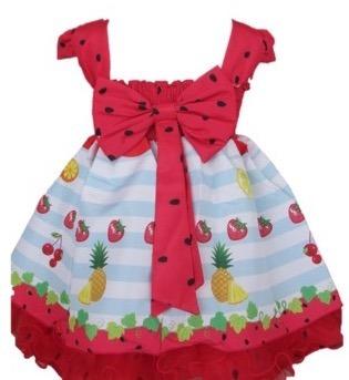 67a816816c88 Vestido Infantil Frutas Melancia Magali Turma Monica+bolero - R$ 155 ...